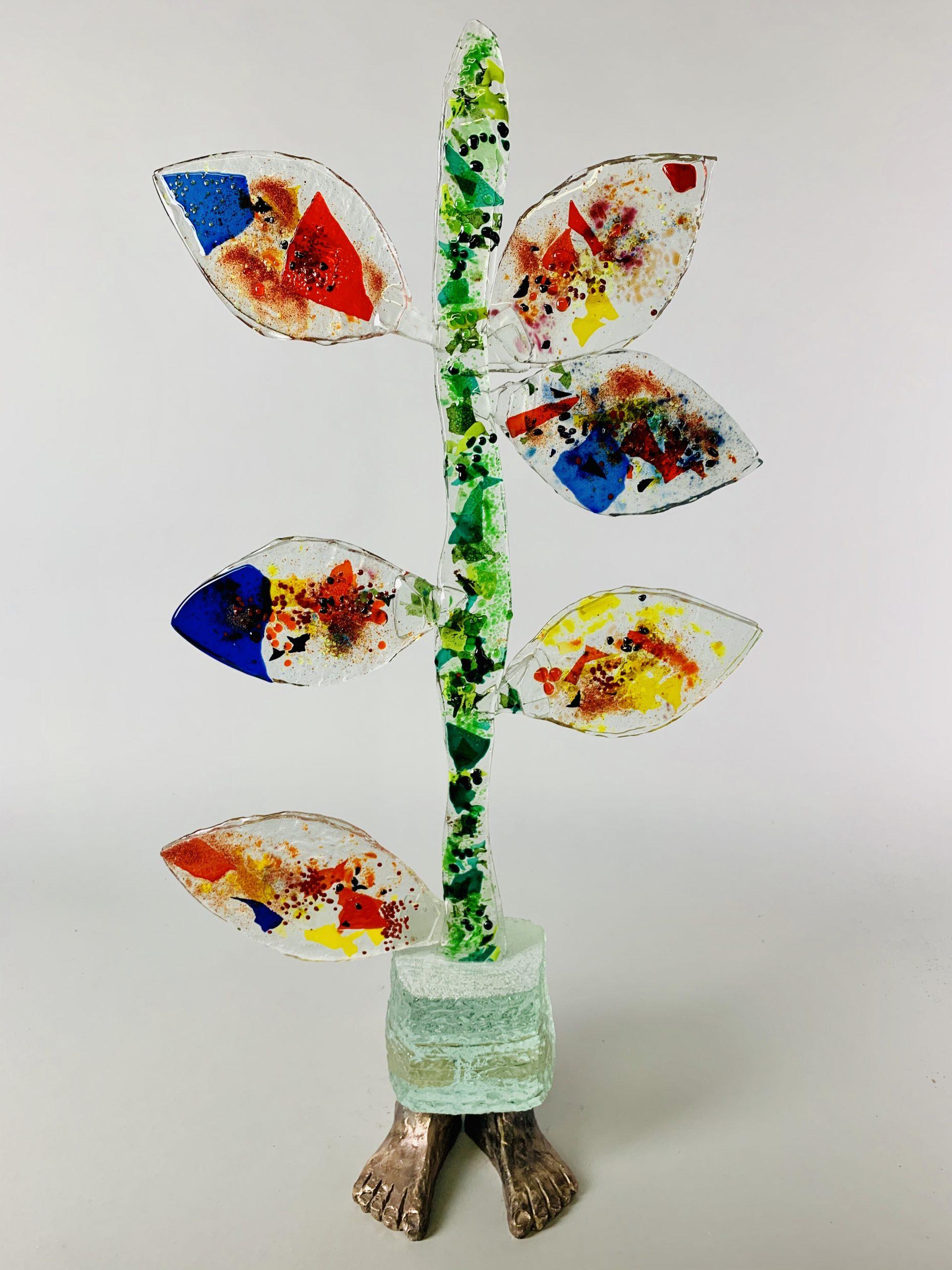 Tree of life 71x38x15 cm glas brons 3 SJAAK SMETSERS