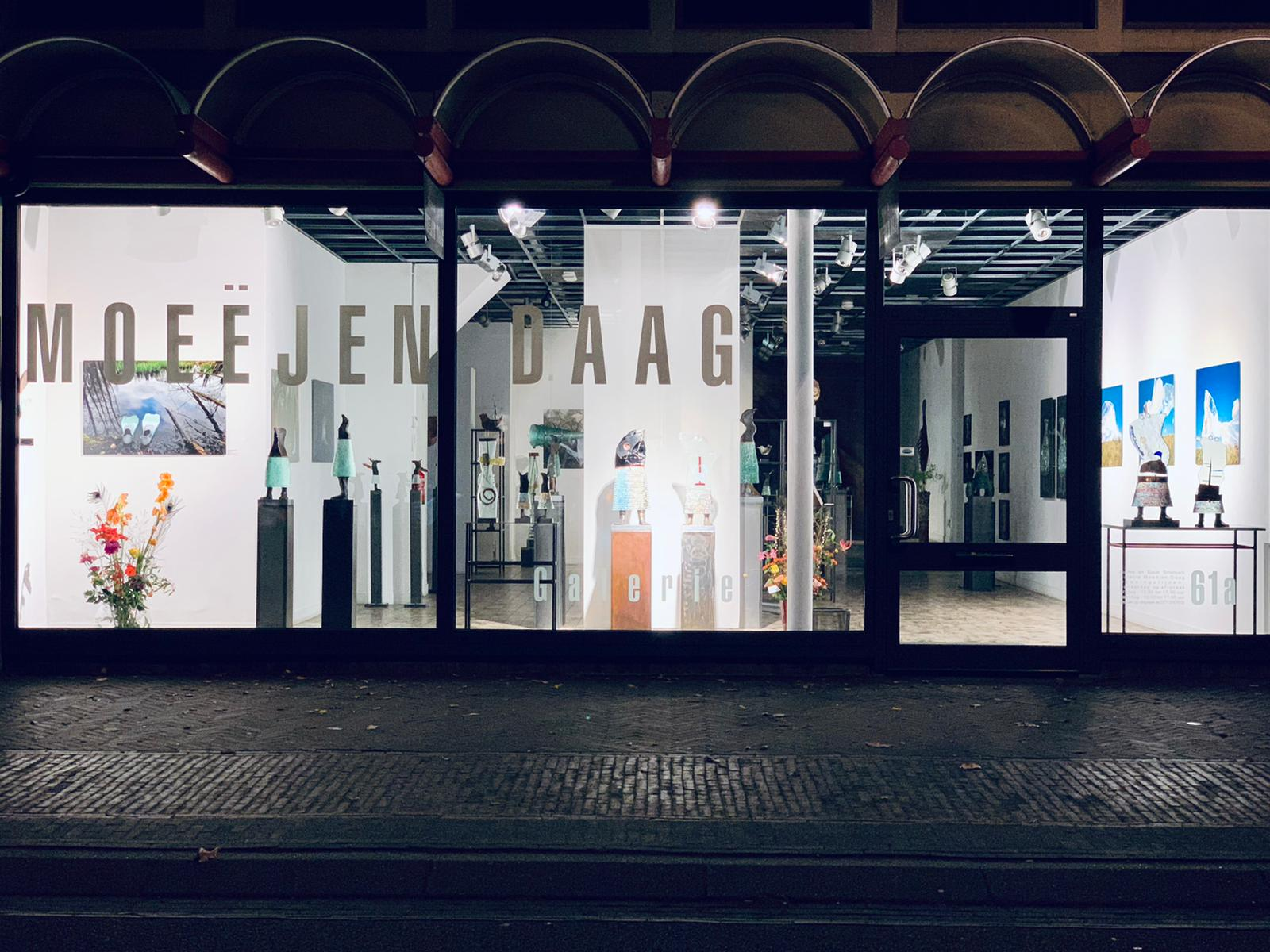 Galerie Moeëjen Daag etalage avond 18 november 2020