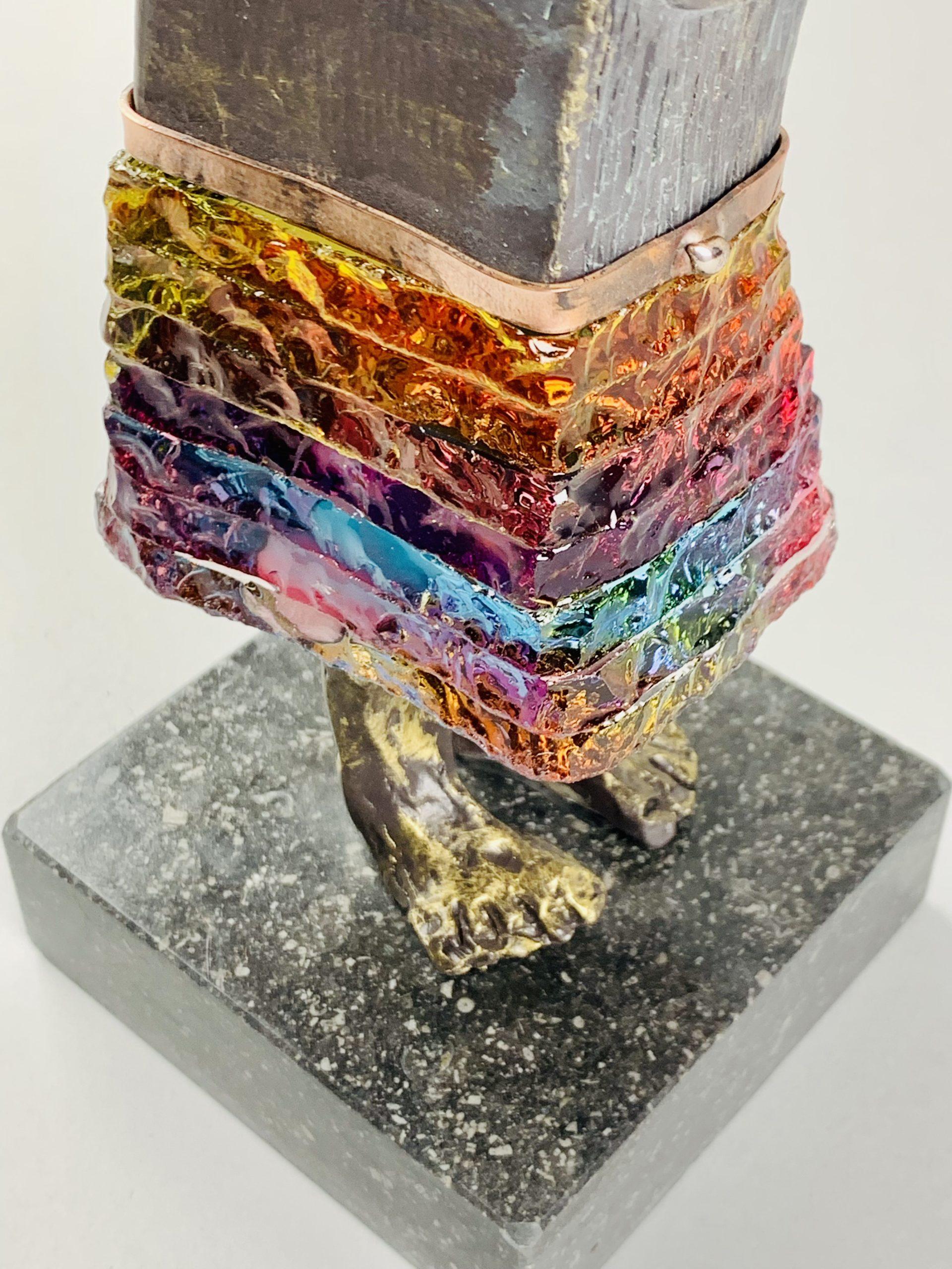 4 Bueno 28x10x10 cm Neolith Koper Glas op Belgisch hardsteen SJAAK SMETSERS FOTO 1